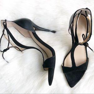 Zara Y- Strap stiletto heels with wrap around lace